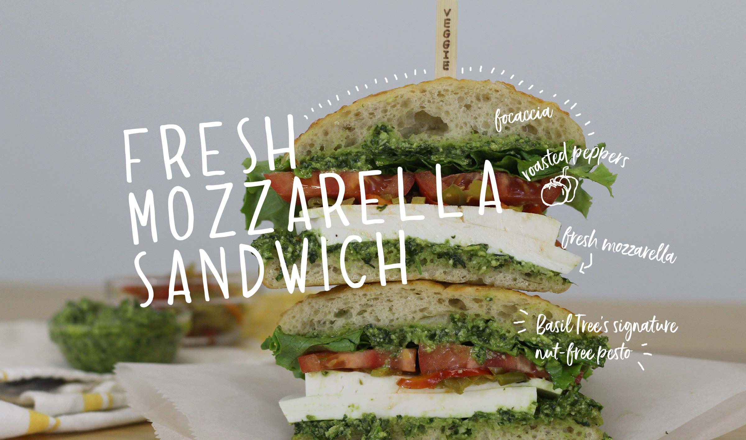 Fresh Mozzarella sandwich with nut-free pesto made in-house