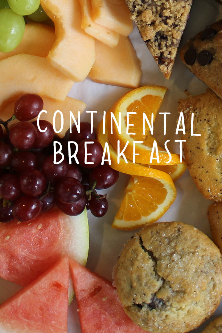 continental breakfast platter: from-scratch pastries and sliced fresh fruit