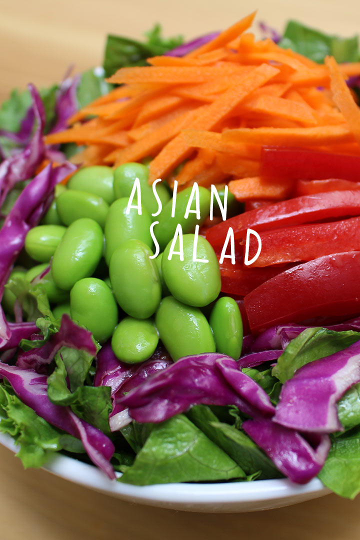 asian salad with edamame, carrots, purple cabbage, and red peppers